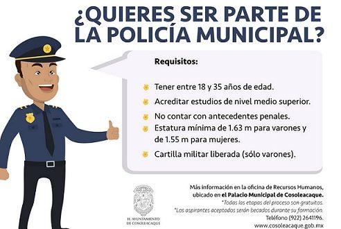 Continúa la recepción de solicitudes para formar parte de la Nueva Policía Municipal de Cosoleacaque.